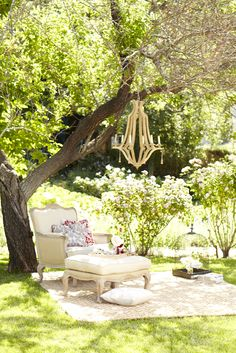 Maybe with some wicker furniture instead of indoor chairs, but love the idea of a secluded seating area in the yard