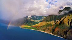 Rainbow Over Na Pali Coast, Kauai, Hawaii
