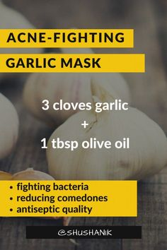 mask acne products DIY: 5 Natural Acne Face-Mask Recipes - Garlic is the best natural antiseptic that helps to . DIY: 5 Natural Acne Face-Mask Recipes - Garlic is the best natural antiseptic that helps to clear the skin. Acne Face Mask, Best Face Mask, Face Skin, Avocado Face Mask, Homemade Moisturizer, Homemade Face Masks, How To Get Rid Of Acne, Acne Remedies, Natural Remedies