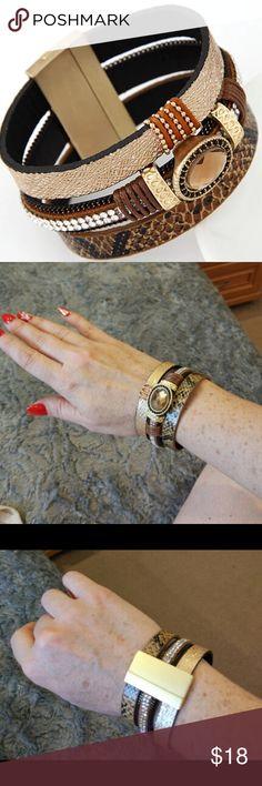 Brown Leatherette Bracelet Lovely Gem Rhinestone Magnetic Leather Bracelet for Women.  One size fits all. Jewelry Bracelets