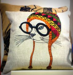 Hipster Cat Cushion with Winter Googles and Hat from Rua Dublin Hipster Cat, Cat Cushion, Cat Hat, Drawstring Backpack, Reusable Tote Bags, Cushions, Cat Things, My Favorite Things, Cats