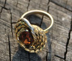 Vintage Gold and  Topaz Cocktail Ring by Gener8tionsCre8tions, $40.00
