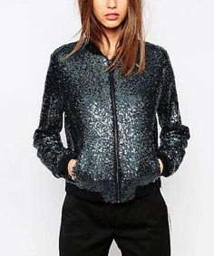 Another great find on #zulily! Navy Sequin Bomber Jacket #zulilyfinds
