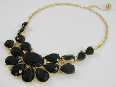 STATEMENT Bib Necklace - CHUNKY Black & Gold Color Collar BIB Anthropologie-Style