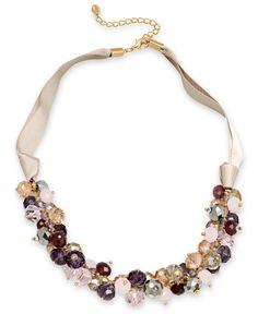 c.A.K.e. by Ali Khan Necklace, Gold-Tone Mauve Bead Cluster Frontal Necklace - Fashion Jewelry - Jewelry & Watches - Macy's