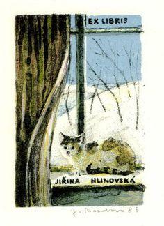 Ex libris by Jana Boudová (Czech, 1931-2001) - 1986