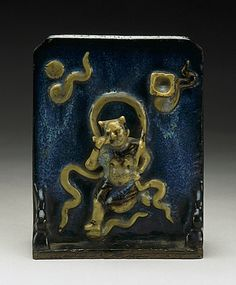 Brush Stand China, Chinese, late Qing Dynasty, circa 1800-1911 Tools and Equipment; stands Shiwan ware, Guangdong; stoneware with thick opalescent grayish blue glaze 7 1/2 x 5 3/4 x 2 1/8 in. (19.05 x 14.61 x 5.4 cm) Los Angeles County Fund (30.2.55)