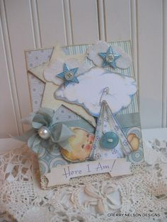 new baby card-BABY BOY card- baby announcement card- baby congrats handmade card