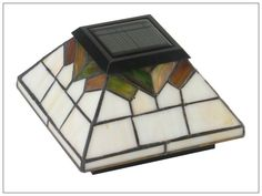 Stained Glass Solar Deck Post Lights, Set of 2, Classy Caps Wellington