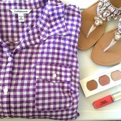 Checkered blouse Very springy! It's a light purple and white checkered blouse. It buttons up the front. Pockets on both sides of the chest. Sleeves are about elbow length. 99% cotton and 1% spandex. Croft & Barrow Tops Blouses