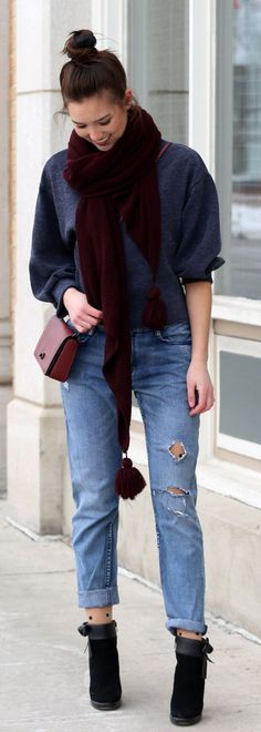Boyfriend jeans and lantern sleeves - with burgundy accessories. Always love a good hair bun to stay casual
