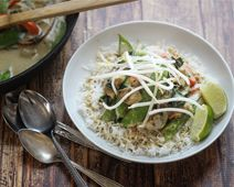 Thai Green Curry with Eggplant, Peppers, Beans