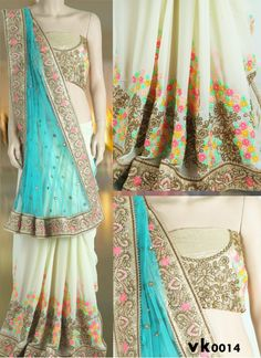New Aqua & Cream Net & Faux Georgette #Saree#beautiful #new_arrival #Latest