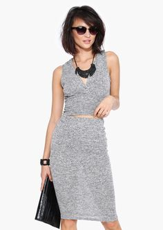 Celine Pencil Skirt in Heather grey | Necessary Clothing