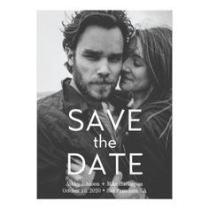 #Save the date photo card Modern wedding typography - #weddinginvitations #wedding #invitations #party #card #cards #invitation #photo