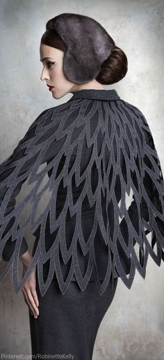 Yulia Yanina Couture Wings & Feathers Style Shawl Fantasy Fashion #UNIQUE_WOMENS_FASHION