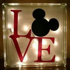 Glass Block with interior lights and ribbon. Choice of painted or custom vinyl Disney Mickey Mouse design. Disney Diy, Casa Disney, Deco Disney, Disney Rooms, Disney Home Decor, Disney Love, Disney Ideas, Baby Mickey Mouse, Mickey Minnie Mouse