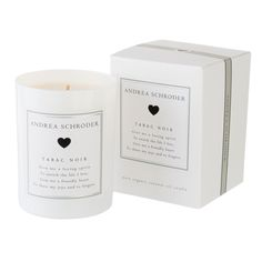 Tabac Noir is the scent of being around a crackling fire. http://www.andreaschroder.com/Tabac-Noir-Candle-p/as111.htm This smoky wood scent will send you back to warm and inviting evenings with its unique blend of charred birch, cedar, amber, vanilla, and sandalwood. The tobacco plant is noted for its notes of fir, eucalyptus, hyacinth, thyme, and green moss. #poetry #poem #gift #coconutoil #coconutwax #luxury #home #fragrance #fall #candle