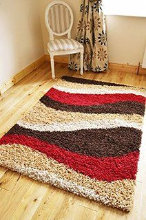NEW SMALL   XX LARGE RED BROWN BEIGE CREAM SHAGGY AREA RUG THICK .