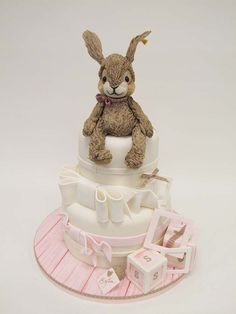 Cute Rabbit Topped Pink Cake