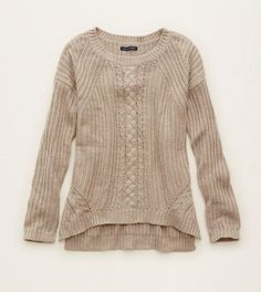 Holiday Heather Brown Aerie Cable Knit Pullover Sweater