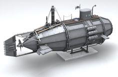 Steampunk Submarine Concept on Behance Dirigible Steampunk, Steampunk Airship, Dieselpunk, Steampunk Design, Steampunk Fashion, Retro, Steampunk Festival, Mechanical Design, Mechanical Art