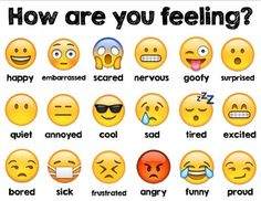 Let your students see a wide variety of feelings through the popular emoji faces from the Apple iPhone! Students can assess their feelings with something familiar. Great for visual learners or ESL students. Feelings Chart, Feelings And Emotions, Emotions Wheel, Learning English For Kids, Teaching English, English Kindergarten, Learn English Words, English Lessons, Emoji Chart