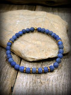 Bracelet for Men Mens Lapis Bracelet Mens by StoneWearDesigns