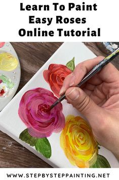 "Flower Painting Discover How To A Rose - Easy & Simple - Step By Step Painting Learn how to paint an acrylic roses with this easy and simple technique. These ""loose stroke"" roses can be painted on canvas or any decorative surface. Easy Flower Painting, Acrylic Painting Flowers, Easy Canvas Painting, Simple Acrylic Paintings, Acrylic Painting Techniques, Flower Art, Diy Painting, Paint Techniques, Painting Flowers Tutorial"