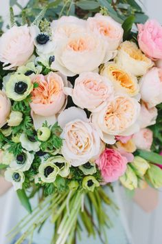 Such a lovely bundle of garden roses + anemones