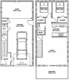 PDF house plans, garage plans, & shed plans. The Plan, How To Plan, Garage Apartment Plans, Garage Apartments, Above Garage Apartment, Building A Container Home, Container House Plans, Container Buildings, Cargo Container