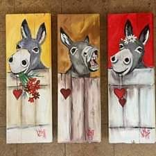 donkeys on pallet wood Pallet Painting, Pallet Art, Painting On Wood, Pallet Wood, Donkey Drawing, Abstract Animal Art, Cow Craft, Cute Donkey, Farm Paintings