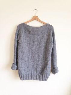 Un pull facile en une partie -DIY Tricot- – L'arbre gris An easy sweater in one part -DIY Knit- – Free Knitting, Knitting Patterns, Knitting Sweaters, Loose Sweater, Cardigan Fashion, Garter Stitch, Diy Crochet, Crochet Pattern, Jumpers