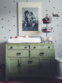 Winnie's Nursery - Bright, Ecclectic, whimsical nursery Vintage Green Dresser