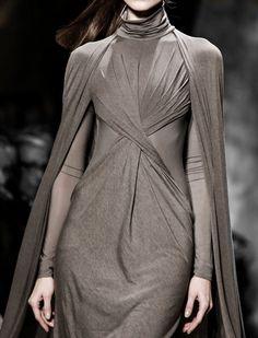 Taupe cape dress with twisted drape; chic fashion details // Donna Karan Fall 2013