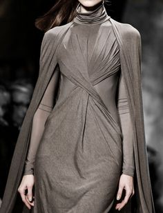 Taupe cape dress with twisted drape; chic fashion details // Donna Karan Fall 2013