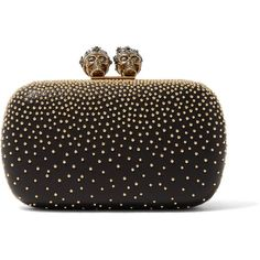 Alexander McQueen Queen & King embellished leather clutch ($2,435) ❤ liked on Polyvore featuring bags, handbags, clutches, real leather purses, leather cell phone purse, alexander mcqueen handbags, skull clutches and alexander mcqueen purse