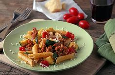Pasta with Chorizo, Zucchini and Tomatoes by Kirsten| My Kitchen in the Rockies