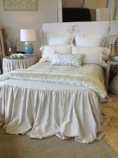 Pearl Linen Ruffled Bedspread Queen Size by ldlinens on Etsy