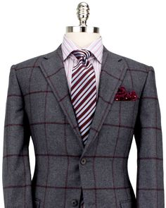 Belvest Charcoal with Burgundy Windowpane Sportcoat #Aim2Win