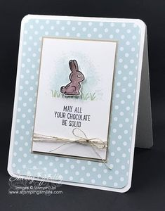 Make a funny and sweet Easter card with the Stampin' Up! Basket Bunch Stamp Set from the 2017 Stampin Up Occasions Catalog. Handmade card idea designed by Shelly Godby of www.stampingsmiles.com
