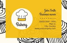 A creative template for a business card. A unique background with illustrations of cupcakes and a bright yellow background with plenty of spaces included to display information on the bakery. Cupcake Illustration, Bakery Business Cards, Make Your Own, How To Make, Yellow Background, Cupcakes, Templates, Bright Yellow, Creative