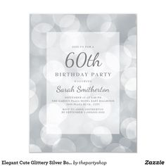Beautiful, elegant birthday party invitation for women designed with gorgeous glittery silver bokeh 75th Birthday Parties, 60th Birthday Party Invitations, 80th Birthday, Thing 1, Bokeh, Elegant, 30th, Invitation Ideas, Silver Glitter