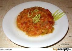 Červená čočka v zelenině Lentils, Risotto, Healthy Living, Spaghetti, Beans, Healthy Recipes, Ethnic Recipes, Fit, Healthy Life