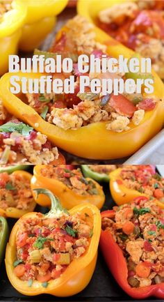 Healthy Dinner Recipes Discover Buffalo Chicken Stuffed Peppers You definitely want to add these Buffalo Chicken Stuffed Peppers to your list of Whole 30 Recipes! Theyre healthy gluten free dairy free and delicious! Healthy Living Recipes, Healthy Gluten Free Recipes, Clean Eating Recipes, Clean Eating Snacks, Healthy Eating, Chicken Recipes Dairy Free, Pasta Recipes, Buffalo Chicken Stuffed Peppers, Whole 30 Stuffed Peppers