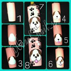 Cartoon Nail Designs, Animal Nail Designs, Animal Nail Art, Diy Nail Designs, Nail Art Hacks, Nail Art Diy, Diy Nails, Nails For Kids, Girls Nails