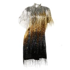 Naeem Khan hand beaded and sequined metallic ombré fringe flapper style dress (front view) | United States, contemporary