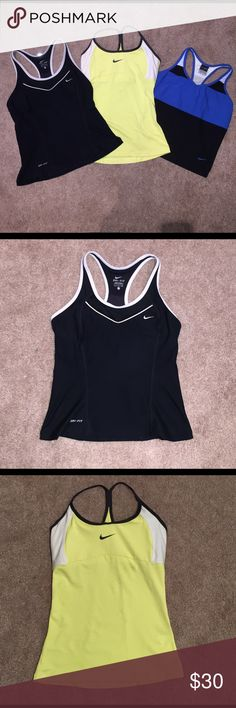 Nike Workout Tank Bundle Three Nike dri-fit workout tanks. All size Small. All come with built in bras. Great condition! Nike Tops Tank Tops