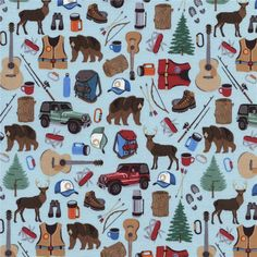 Timeless Treasures Camping Motifs Sky from @fabricdotcom  From Timeless Treasures, this cotton print is perfect for quilting, apparel and home decor accents.  Colors include white, black, tan, brown, orange, grey, blue, green and red.