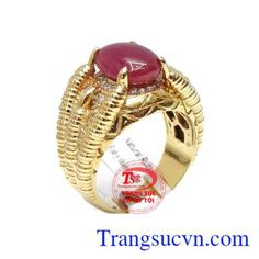 Nhẫn nam ruby phong cách 14k